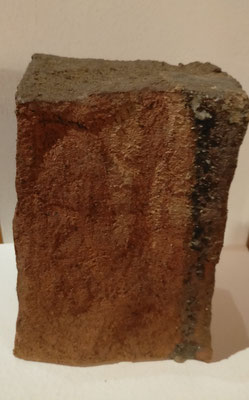 """Géométrie de la Matière 1  """" Sculpture grès roux  cuisson Noborigama H24cm/L18cm/larg11cm  Pièce Unique -Juan José Ruiz dit """"Caco"""" Artiste Auteur/Sculpteur- 200€"""