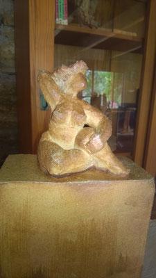 """""""En se prélassant"""" Sculpture grès noir cuisson Noborigama H34cm """"Pièce Unique"""" -Juan José Ruiz dit """"Caco""""  Artiste Sculpteur/Auteur"""