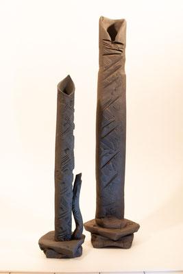 """Grands Vases  Terre d'expression haute température cuisson four à bois Noborigama de """"Caco et Sylvie"""" -Sylvie Ruiz Foucher- 2018"""