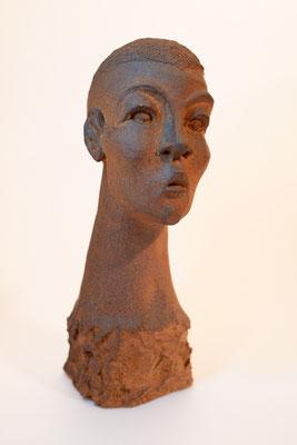 """""""African buste"""" Sculpture grès roux cuisson Noborigama H34cm """"Pièce Unique"""" -Juan José Ruiz dit """"Caco""""  Artiste Sculpteur/Auteur"""