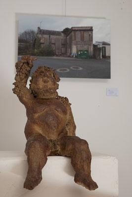"""""""Bacchus"""" Sculpture grès noir cuisson Noborigama H35cm """"Pièce Unique"""" -Juan José Ruiz dit """"Caco""""  Artiste Sculpteur/Auteur"""