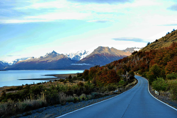 Fahrt zum Perito Moreno, es sind 30 km vom Eingang bis zum Gletscher.