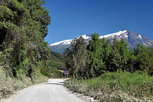 Der Doppelvulkan Choshuenco und Mocho mit seinem großen Gletscherfeld.