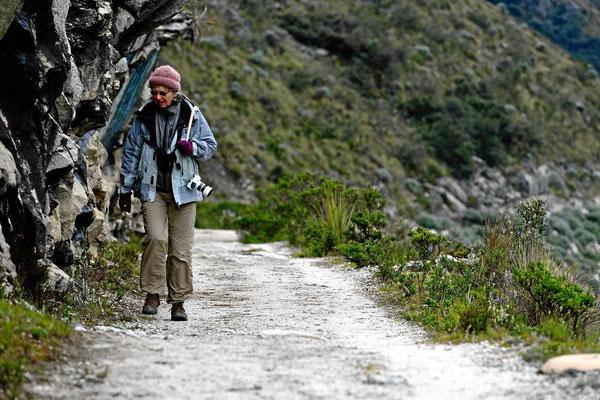 Wir wandern den See entlang - und die Puste geht ganz schön rasch, wir sind 4200 m hoch.