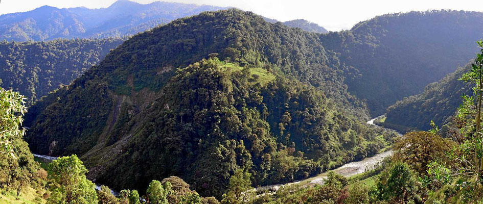 Wir fahren durch das Tal des Rio Papallacta gen Osten