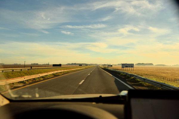 Weiterfahrt nach Buenos Aires, wieder durch plattes Argrarland.