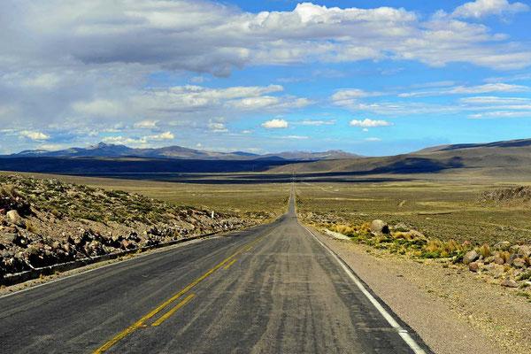 Fahrt durch die Ebenen der Reserva Nacional Salinas Y Aguada Blanca.