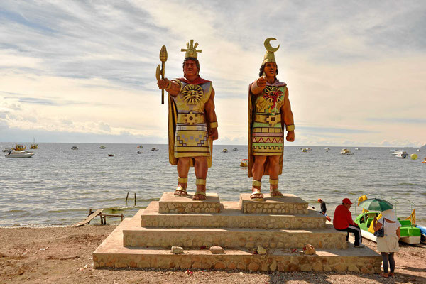Von hier stammen die Inkas, direkt vor dem Ort sind die Sonnen- und die Mondinsel, von denen laut Überlieferung die Inkas stammen.