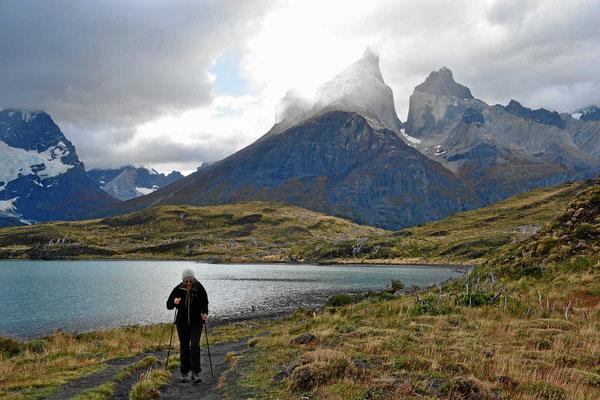 Wanderung zum Mirador am Lago Nordenskjold. Auf dem Rückweg.