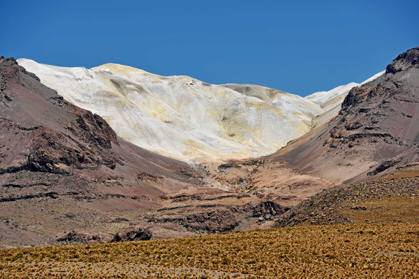 Zuerst dachten wir, dass es ein Gletscher ist, dann haben wir es als weiße Lavaasche indentifiziert.
