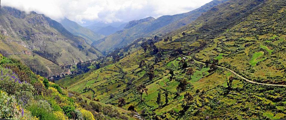 Der Abstieg zum Pazifik verläuft durch ein steiles Tal.