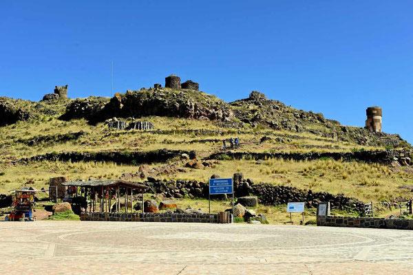 Der Parkplatz bei den Silustani-Ruinen, hier stehe ich über Nacht.