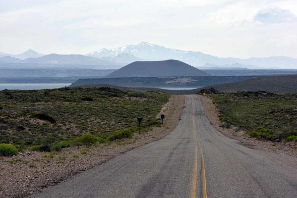 Fahrt zum Nationalpark Laguna Blanca mit der gleichnamigen Lagune im Hintergrund.