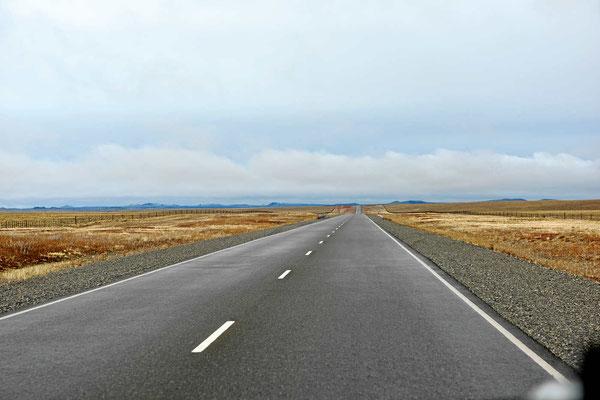 Die Ruta 3 auf dem Weg nach Norden - Pampalandschaft.