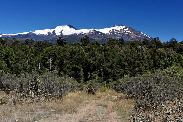 Der Doppelvulkan Choshuenco und Mocho im Nationalpark Huilo Huilo. Er ist nur zu Fuß oder mit Pferden zu erreichen.