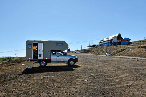 Unser Standplatz an der Skistation a, Vulkan Villarrica.