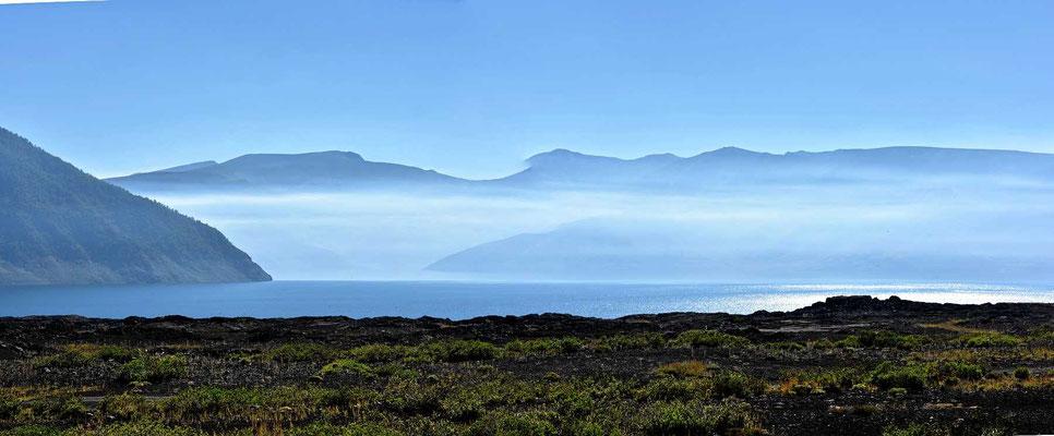 Die Lagune de Laja im Morgennebel.