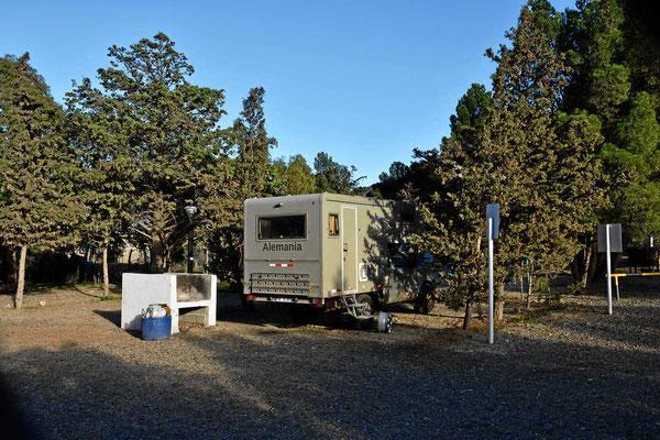 Der Campingplatz in Rada Tilly, wir stehen im Windschatten der Bäume und trotzdem schüttelt uns der Pamapwind durch.