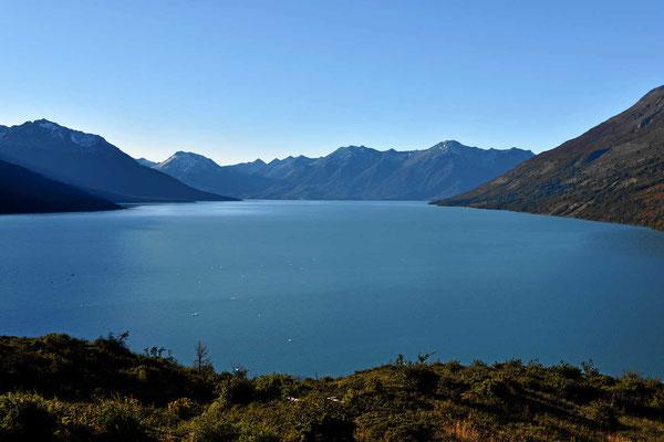 """Der Lago Argentino """"hinter"""" dem Gletscher."""