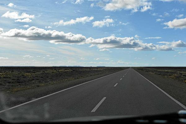 Fahrt durchs Nirgendwo, alles platt und weit, nirgends ein Haus, nur Zäune.