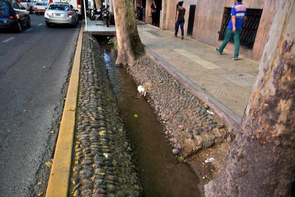 Mit diesen Kanälen werden die Bume bewässert. Wehe, ein Auto verirrt sich darin.