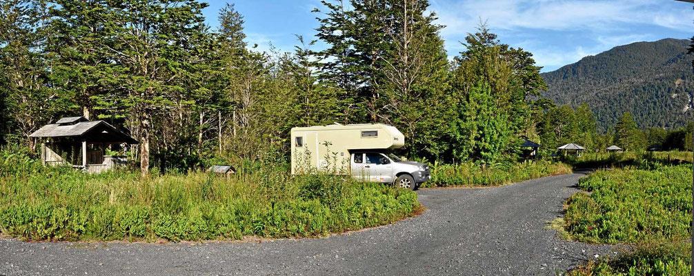 Unser Platz auf dem Campingplatz Volcan