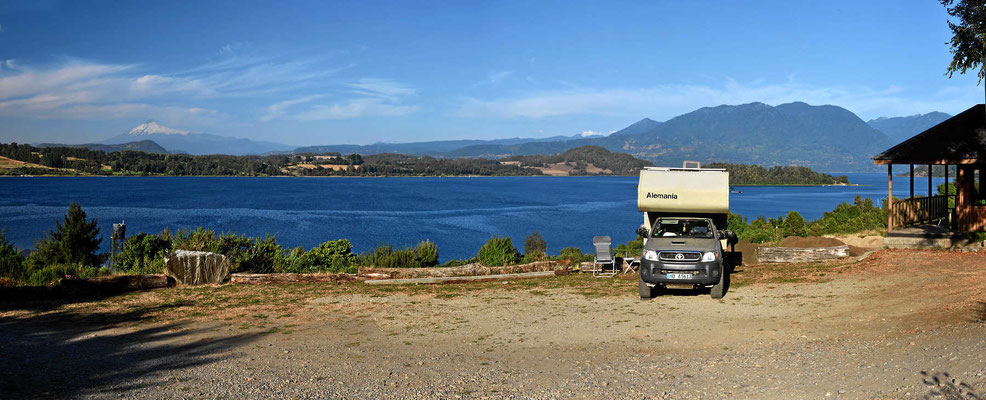 Unser Platz am See, der Campingplatz Puchaley Laequen. Da will man nicht weg.