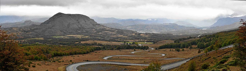 Blick vom Cerro Castillo auf die Ebene vor dem Lago General Carrera.