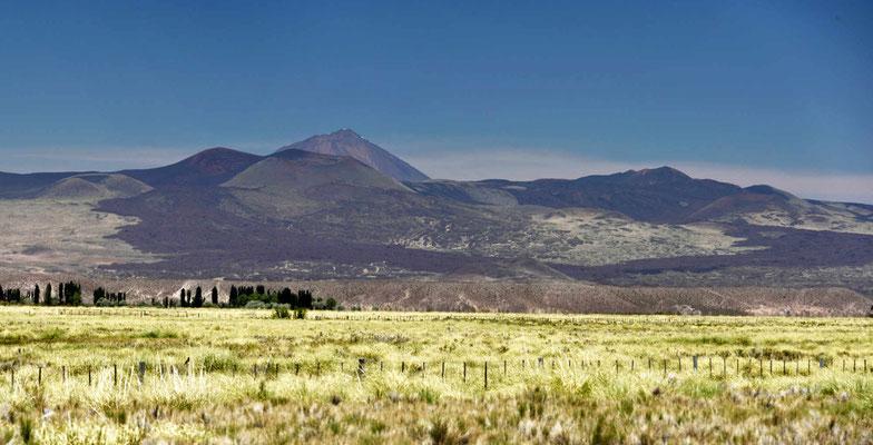 Die Vulkan-Landschaft beginnt. Überall sind große Lavaflüsse erkennbar.