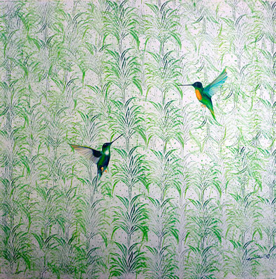 kolibri / hummingbirds / 120 x 120 / private collection