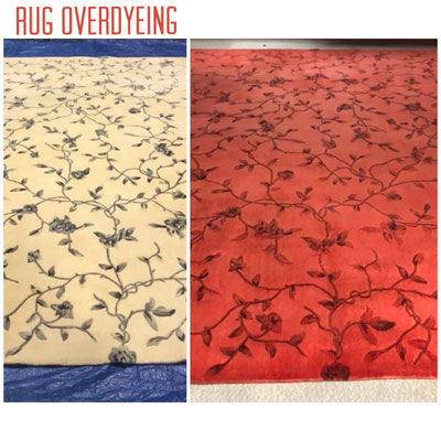 Rug overdyed to red.