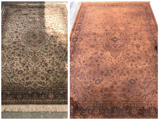 Rug overdyed to rust tone.