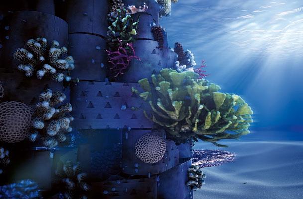 «In fünf Jahren ein Konstrukt vollautomatisch produzieren und als Küstenschutz vor einer Malediveninsel installieren, der innert drei Jahren zum Riff erblüht, dem man die Herkunft aus dem 3D-Drucker nicht mehr ansieht», so die Zukunftsvision .