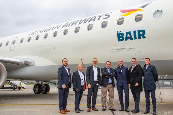 Sie sind die führenden Köpfe der virtuellen Airline: Das Team vom Flughafen Bern, Jürg Fleischmann von der Lions Air Group sowie das Zeitfracht/German Airways Team um Wolfram Schröter.