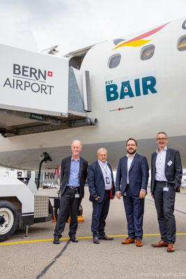 Das Management Team des Flughafen Bern macht harte Zeiten durch seit dem Wegfall der Sky Work Flüge. vl: Heinz Kafader, Martin Leibundgut, Jose Gonzalez, Urs Ryf