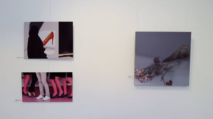 "Espacio Gallery, exhibition ""Between the Lines"" (my two photos are on the left side), photo: Espacio Gallery."