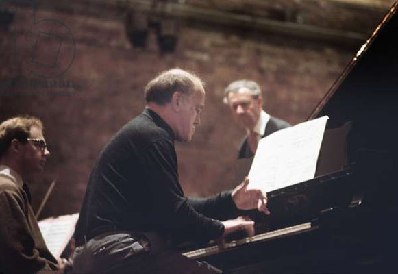 Aldebrugh Festival. SR with festival director and Britten June 1967