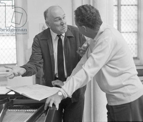 Recording session for a Mozart piano concerto no.27. Aldeburg Festival, Suffolk, 1965