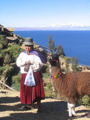 vrouw met alpaca