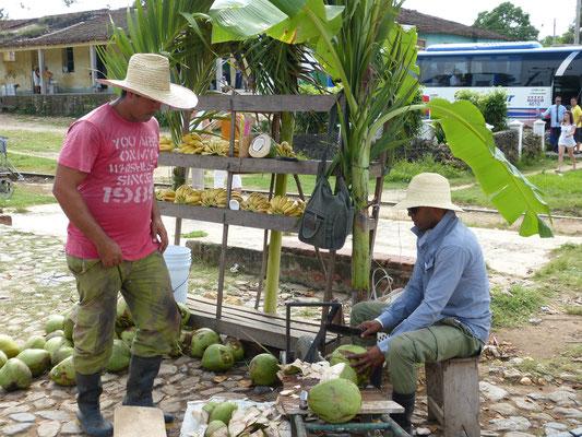 Kokosnoten en bananen