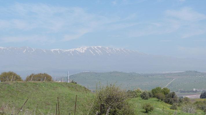 Golan hoogvlakte met uitzicht op de berg Hermon