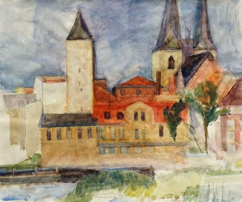 Calbe zwischen altem Wachturm und Stephani Kirche