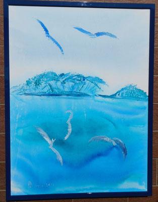 l'isola trovata 60x80cm china e acrilico su tela