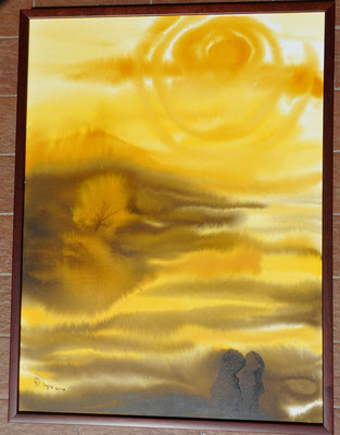 guardando il tramonto assieme 60x80cm china su tela incorniciato