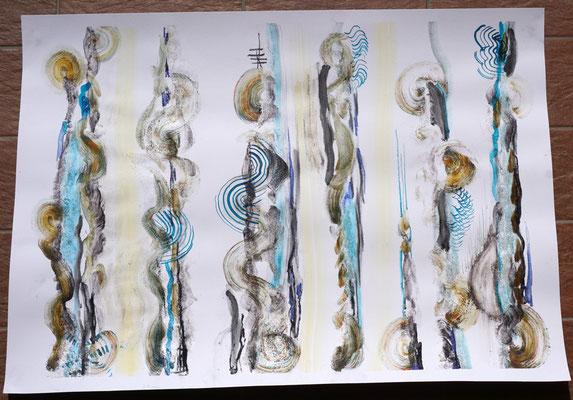 unici e comunicanti 70x50 cm tecnica mista: tempera, china, carbone, sabbia, colla