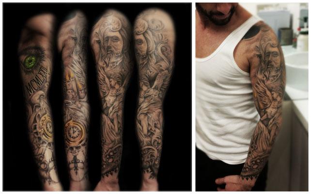Blue Magic Pins tattoo Belgium Genk sleeve big tattoo project