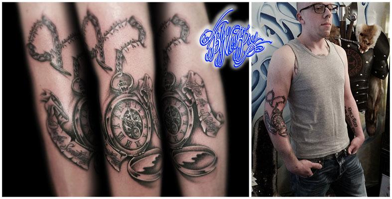 Blue Magic Pins tattoo Genk Belgium black and grey realistic tattoos