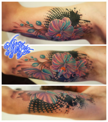 Blue Magic Pins tattoo Genk Belgium color tattoo watercolor realistic