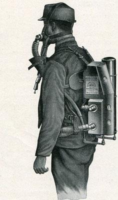 Amerikanischer Paul - Apparat 1917. Die Sauerstoffspeisung geschieht durch automatischen  Überdruck.