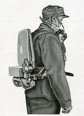Sauerstoff- Gasschutz-Gerät  vom Ingenieur George S. McCaa. ohne Schutzhaube.  USA  1924